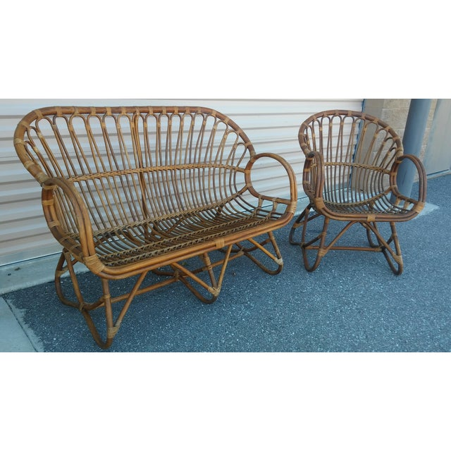 Vintage Franco Albini Rattan Scoop Chair and Love Seat Stunning Mid-Century Bamboo Settee and Matching Chair, circa 1960s....