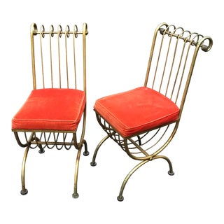 Gilt Accent Chairs by Salvadori - Set of 2 For Sale