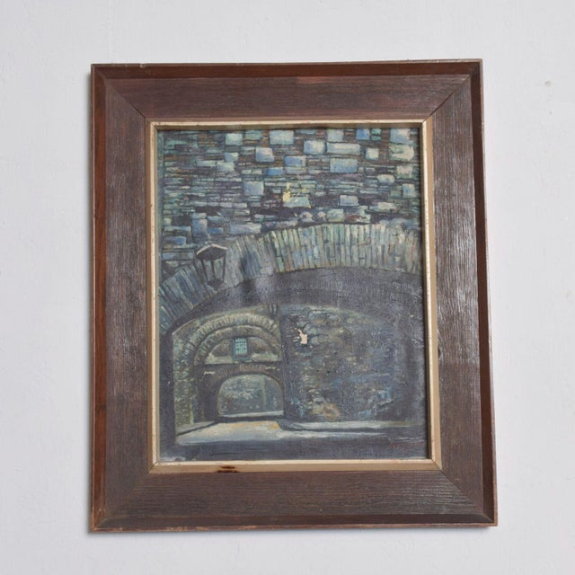 Mid Century Vintage Art Signed Oil Canvas Stone Arch Bridge For Sale - Image 11 of 11