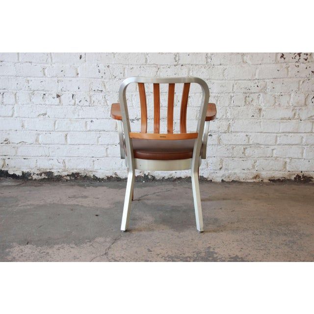 Metal 1950s Shaw Walker Maple and Aluminium Armchair With Leather Seat For Sale - Image 7 of 10