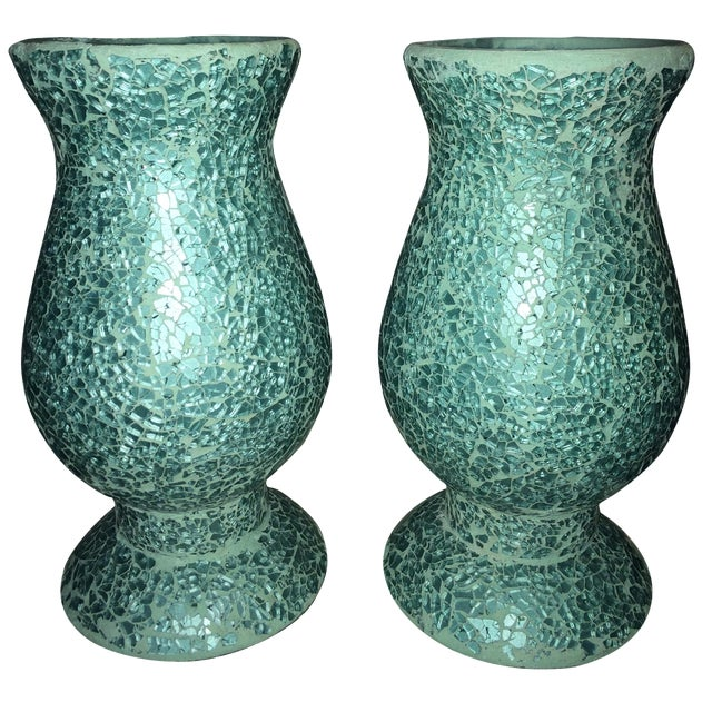 Mosaic Hurricane Lamps in Tiffany Blue - Image 1 of 4