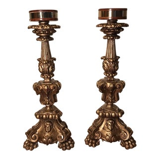 Vintage Chalkware Italian Candle Holders - A Pair For Sale
