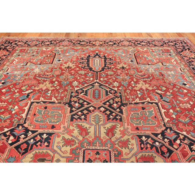 Room Size Antique Persian Heriz Geometric Rug - 11′ × 14′5″ For Sale - Image 10 of 13