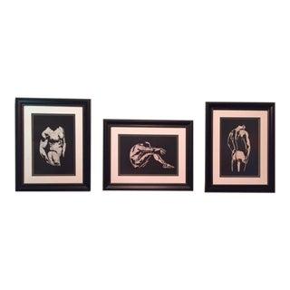 Male Nudes Batik Artworks - Set of 3