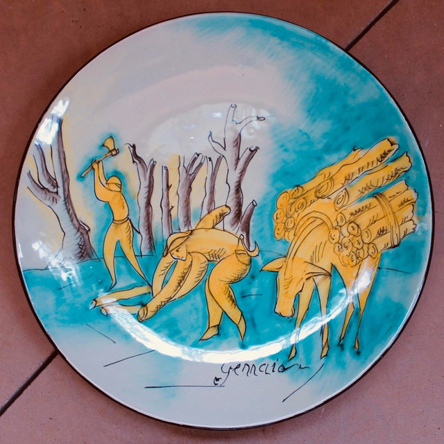 Set of 12 Italian Maiolica Dinner Plates, Painted With Country Life Scenes For Sale - Image 10 of 13