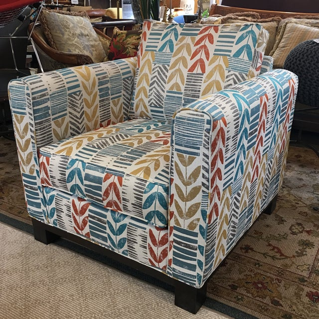 Custom Contemporary Leaf Motif Upholstered Arm Chair - Image 2 of 11