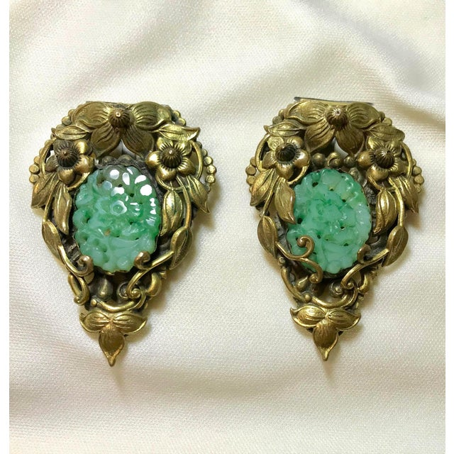 1930s Goldtone Floral Dress Clips Set With Molded Jade Green Glass - a Pair For Sale In Los Angeles - Image 6 of 6