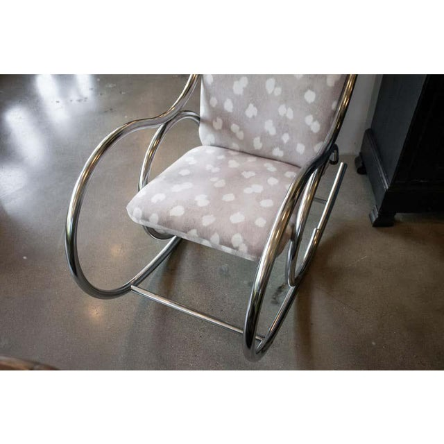 1970s Vintage Chrome Rocking Chair For Sale - Image 5 of 11