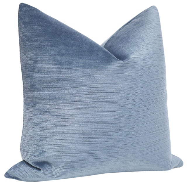 """Contemporary 22"""" Strie Velvet Chambray Pillows - a Pair For Sale - Image 3 of 5"""