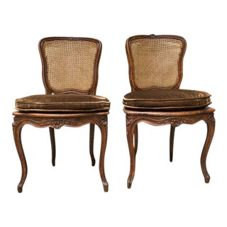 19th Century French Cane Back Chairs - A Pair
