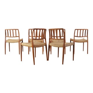 Niels Moller for J.L. Møllers Møbelfabrik Model #83 Teak Dining Chairs with Danish Cord - A Set of 6, Denmark For Sale