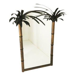 1960s Hollywood Regency Gold Tole Palm Tree Mirror For Sale