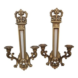 1960s Gothic Revival Dual Candle Wall Candle Holders/Sconces - a Pair
