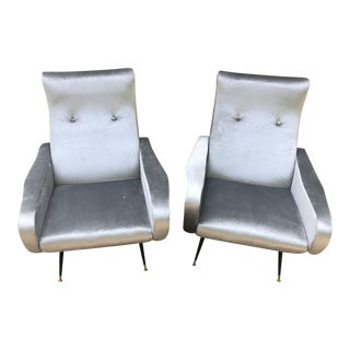 Marco Zanuso Style Silver Velvet Chairs - A Pair