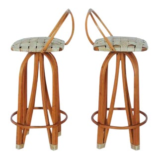 Modern Bentwood & Leather Bar Stools - A Pair For Sale