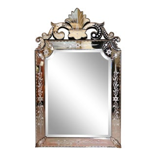 Early 20th Century Italian Overlay Venetian Mirror With Painted Floral Etching For Sale