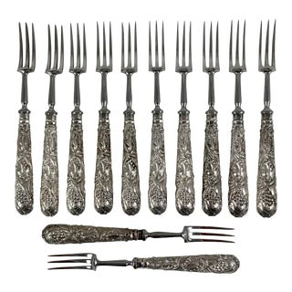 Martin Hall & Co. English Sheffield Ep Silver Art Nouveau Pastry Forks - Set of 12 For Sale
