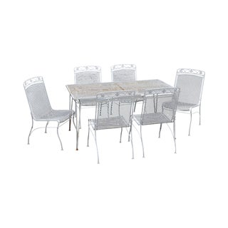 Woodard Vintage Wrought Iron 7 Pc Patio Dining Set - Table + 6 Chairs For Sale