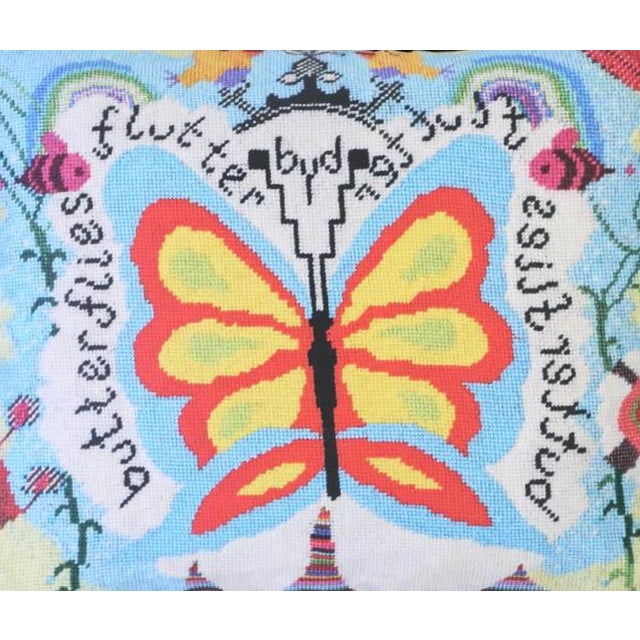 This most cheery pillow is a beautiful cotton sateen reproduction of an original needlepoint design. Entirely handcrafted,...