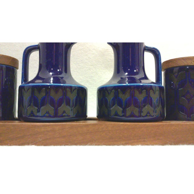 Mid-Century English Cobalt Blue Ceramic and Teak Condiment Set - 5 Pieces For Sale - Image 4 of 6