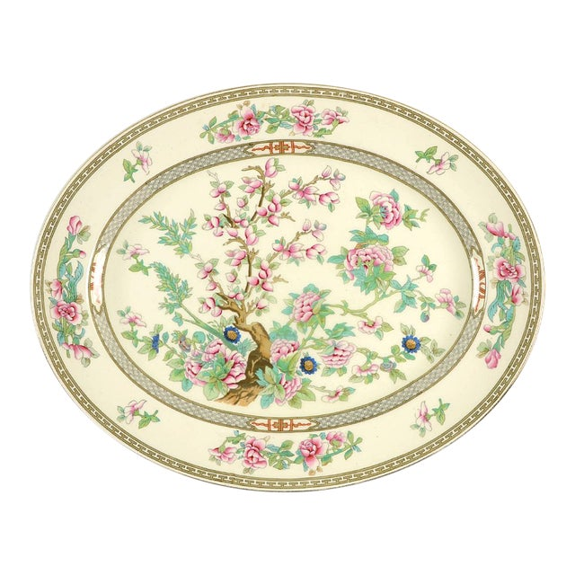 """Crown Ducal Indian Tree 14"""" Oval Serving Platter For Sale"""