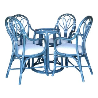 Vintage McGuire Coastal Blue Table Four Chairs For Sale
