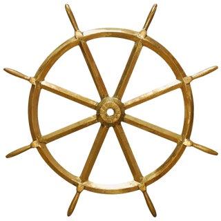 England Victorian Navy HMS Solid Brass Ships Wheel, circa 1910