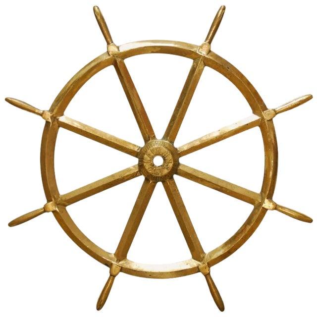 England Victorian Navy HMS Solid Brass Ships Wheel, circa 1910 - Image 1 of 8