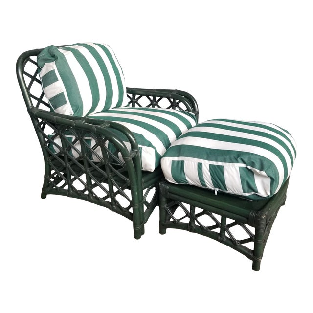 1960s Vintage Ficks Reed Hunter Green Rattan Lounge Chair and Ottoman Set For Sale