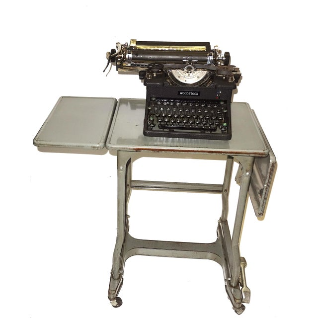 Early 20th Century Typewriter, on Steel Dual Drop Leaf Rolling Typewriter Table For Sale - Image 4 of 11