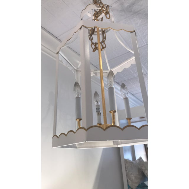 Modern Glossy White and Gold Lantern by Owd For Sale - Image 3 of 6