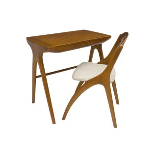 Small Mid-Century Cherry Wood Desk With Matching Chair, France, Circa 1960