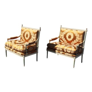 Pair of Signed Maison Jansen Paint Decorated Louis XVI Style Settees Canapes Sofas For Sale