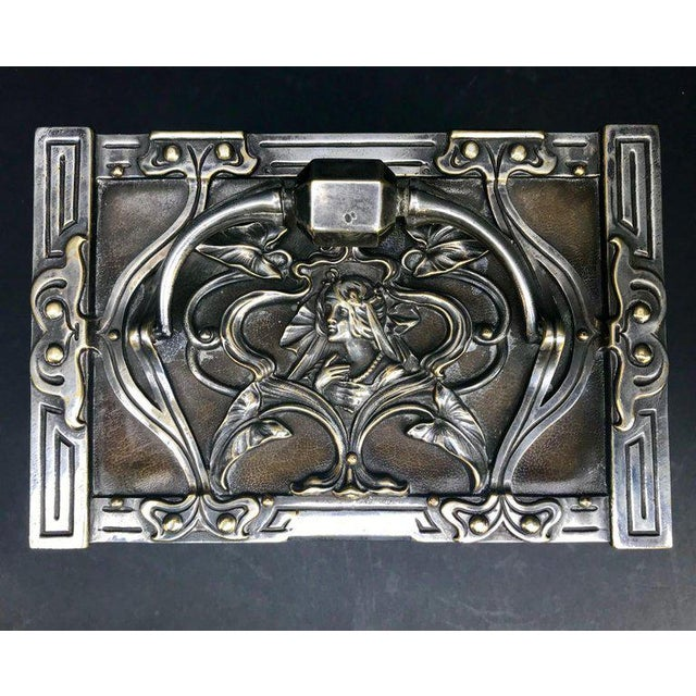 Early 20th Century 20th Century Art Nouveau Silvered Heavy Bronze Jewelry Box Casket For Sale - Image 5 of 13