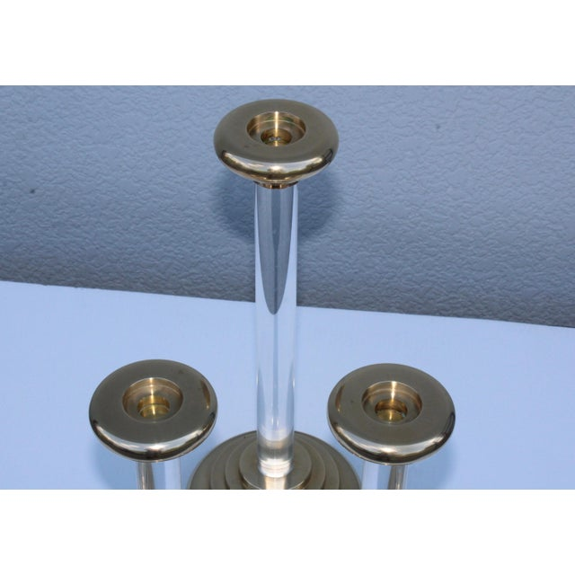 1980s Lucite and Brass Large Candleholders For Sale - Image 9 of 13
