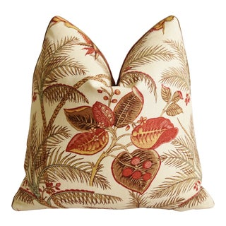 "Colefax & Fowler Botanical Floral Feather/Down Pillow 19"" Square For Sale"