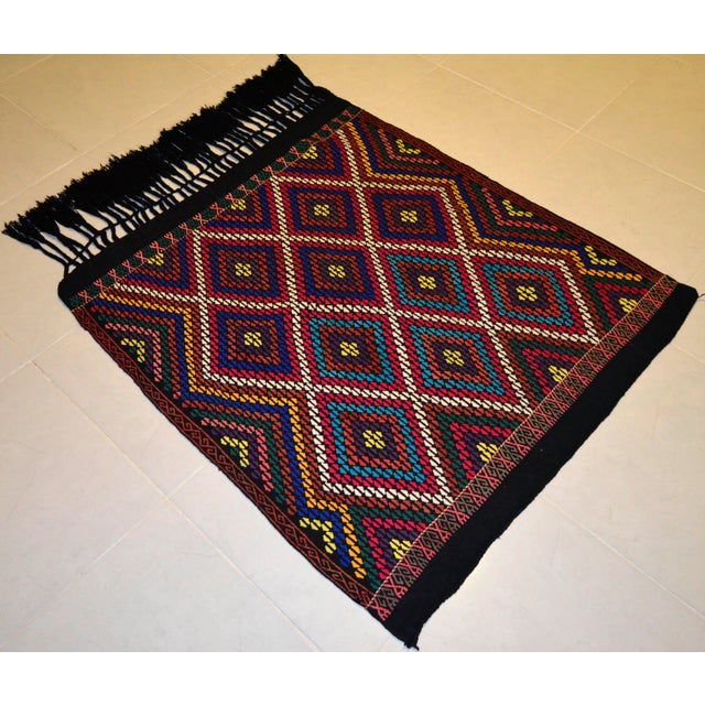 Turkish Hand Woven Kilim Rug/Braided Wall Hanging - 3′2″ X 3′5″ For Sale - Image 4 of 9