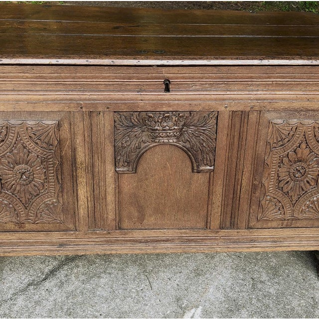 Early 19th Century Early 19th Century Country French Rustic Oak Trunk For Sale - Image 5 of 13