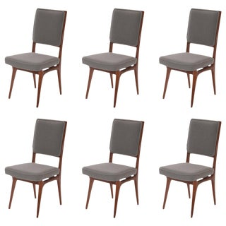 1950s Vintage Walnut and Upholstered Dining Chairs- Set of 6 For Sale