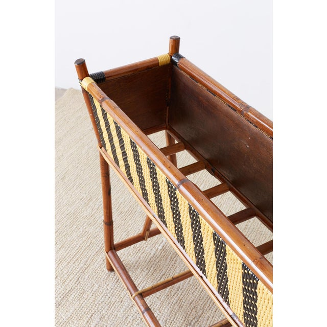 French Maison Gatti Bamboo Rattan Jardinière Planter For Sale - Image 9 of 13
