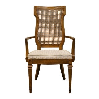 High End Tuscan Italian Provincial Cane Back Dining Arm Chair For Sale
