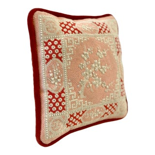 Vintage Cherry Blossom Needlepoint Pillow in Blush and Coral For Sale