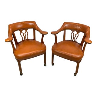 Regency Style Saddle Leather Captains Chairs - a Pair For Sale