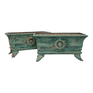 French 19th Century Cast-Iron Planters- a Pair For Sale