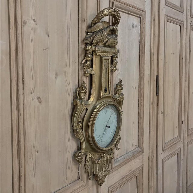 18th Century Giltwood Hand Carved Barometer - Thermometer is a remarkable instrument of technology that is surprisingly...