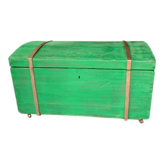 1850s Antique Wood Trunk on Wheels For Sale