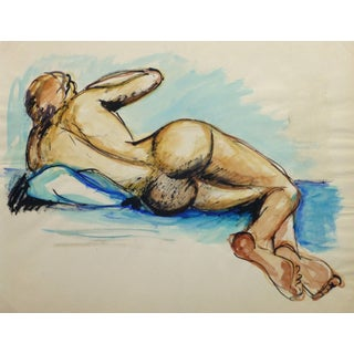 Vintage French Gouache - Blue Nude II For Sale