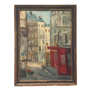 1957 Parisian Cityscape Oil Painting by Serge Belloni, Framed For Sale