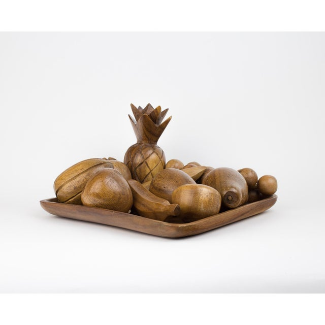 Vintage wooden fruit bowl. Circa 1960's. Rare find 11 pieces of fruit with matching square tray. Great for adding warmth /...