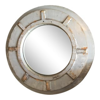 Wood Porthole Style Mirror For Sale